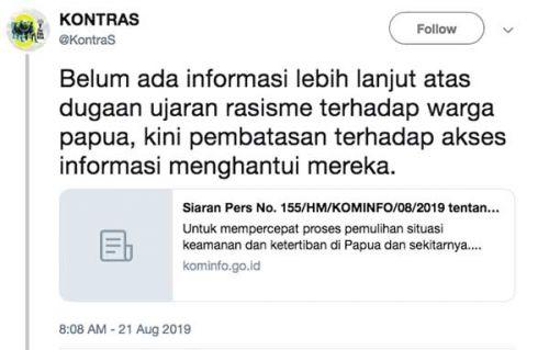Kontras kecam blokir akses data di Papua