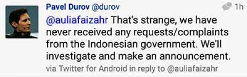 Indonesia blokir aplikasi Telegram