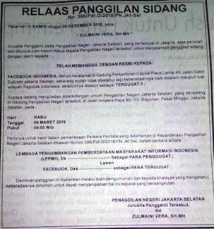 PN Jaksel panggil Facebook Indonesia via iklan agar hadiri sidang Cambridge Analytica