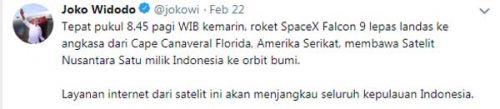 Jejak satelit Nusantara Satu di lini masa